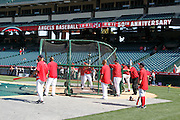 ANAHEIM, CA - APRIL  23:  Members of the Los Angeles Angels of Anaheim take batting practice before the game between the Boston Red Sox and the Los Angeles Angels of Anaheim on Saturday, April 23, 2011 at Angel Stadium in Anaheim, California. The Red Sox won the game in a 5-0 shutout. (Photo by Paul Spinelli/MLB Photos via Getty Images)