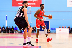 Marcus Delpeche of Bristol Flyers is marked by Jamal Williams of Newcastle Eagles- Photo mandatory by-line: Ryan Hiscott/JMP - 03/11/2018 - BASKETBALL - SGS Wise Arena - Bristol, England - Bristol Flyers v Newcastle Eagles - British Basketball League Championship