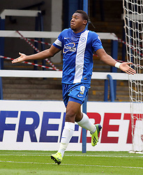 Peterborough United's Britt Assombalonga celebrates - Photo mandatory by-line: Joe Dent/JMP - Tel: Mobile: 07966 386802 21/09/2013 - SPORT - FOOTBALL - London Road Stadium - Peterborough - Peterborough United V MK Dons - Sky Bet League 1