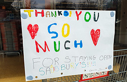 © Licensed to London News Pictures. 08/04/2020. London, UK. A hand painted picture with a message of appreciation is displayed at Sainsbury's supermarket in north London during the coronavirus outbreak. Photo credit: Dinendra Haria/LNP
