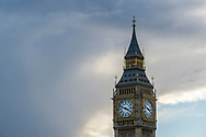 Low angle view of Big Ben (officially known as the Elizabeth Tower) in London, England.