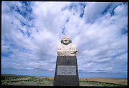 Statue of Lakota leader Sitting Bull presides over site where he was killed in 1890; Lake Oahe on Missouri River at Mobridge, South Dakota
