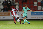 oshua Debayo and Nathan Thomas   during the EFL Sky Bet League 2 match between Cheltenham Town and Carlisle United at Jonny Rocks Stadium, Cheltenham, England on 20 August 2019.