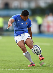 Ben Tapuai of Bath Rugby practises his place kicking during the pre-match warm-up - Mandatory byline: Patrick Khachfe/JMP - 07966 386802 - 25/08/2017 - RUGBY UNION - Donnybrook Stadium - Dublin, Republic of Ireland - Leinster Rugby v Bath Rugby - Pre-season Friendly