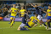 Goal!…Birmingham City defender Michael Morrison (28) scores a goal during the EFL Sky Bet Championship match between Millwall and Birmingham City at The Den, London, England on 28 November 2018.
