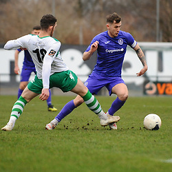 TELFORD COPYRIGHT MIKE SHERIDAN Arlen Birch of Telford during the Vanarama Conference North fixture between AFC Telford United and Farsley Celtic at The Citadel on Saturday, January 25, 2020.<br /> <br /> Picture credit: Mike Sheridan/Ultrapress<br /> <br /> MS201920-042