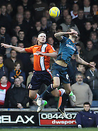 Picture by David Horn/Focus Images Ltd +44 7545 970036.05/01/2013.Jon Shaw of Luton Town and Roger Johnson of Wolverhampton Wanderers during the The FA Cup match at Kenilworth Road, Luton.