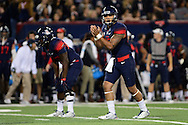 TUCSON, AZ - NOVEMBER 14:  Quarterback Anu Solomon #12 of the Arizona Wildcats prepares to snap the football in the game against the Utah Utes at Arizona Stadium on November 14, 2015 in Tucson, Arizona. The Wildcats defeated the Utes 37-30 in double overtime.  (Photo by Jennifer Stewart/Getty Images)