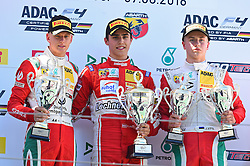 v.l. 2. Platz Mick Schumacher (D), Sieger Thomas Preining (Aut), 3. Platz Juri Vips (Est) beim Formel 4 Rennen auf dem Nürburgring / 070816<br /> <br /> *** ADAC Formula Four championship at Nurburgring on August 7, 2016 in Nurburg, Germany ***