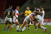 Rugby League - 2020 / 2021 Coral Challenge Cup - Quarter-final - Leeds Rhinos vs Hull Kingston Rovers<br /> <br /> Leeds Rhinos's Ava Seumanufagai is tackled, at the TW Stadium.