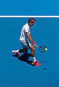 Roger Federer (SUI) in Day 2 of Australian Open play as temperatures soared to 43C, 109.4F . Federer beat J. Duckworth (AUS) 6-4, 6-4,6-2 in first round play of the 2014 Australian Open at Melbourne's Rod Laver Arena.