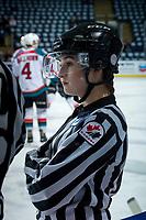 KELOWNA, CANADA - FEBRUARY 17:  A young referee on February 17, 2018 at Prospera Place in Kelowna, British Columbia, Canada.  (Photo by Marissa Baecker/Shoot the Breeze)  *** Local Caption ***