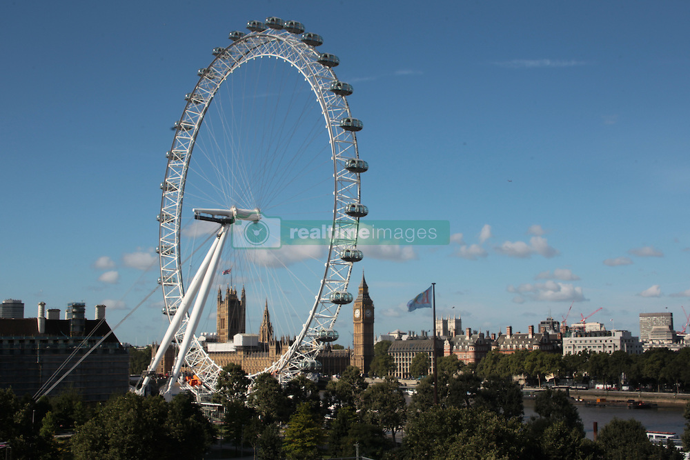 A view of the London Eye taken from the roof of the Southbank Centre 's Festival Hall