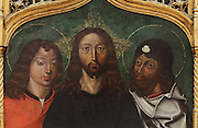 Jesus Christ with saints, painting, late 15th century, by Portuguese School, from the altarpiece of the Convento de Santa Clara, in the Museu Nacional de Machado de Castro, Coimbra, Portugal. The museum was opened in 1913 and renovated 2004-2012. The city of Coimbra dates back to Roman times and was the capital of Portugal from 1131 to 1255. Its historic buildings are listed as a UNESCO World Heritage Site. Picture by Manuel Cohen
