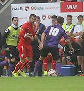Dundee's Kevin Thomson and Morecambe's Ryan Williams - Morecambe v Dundee, pre-season friendly at the Globe Arena<br /> <br />  - &copy; David Young - www.davidyoungphoto.co.uk - email: davidyoungphoto@gmail.com