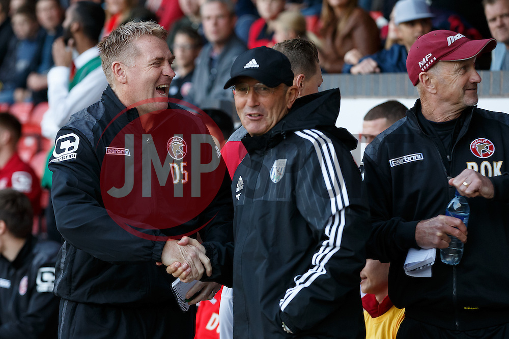 Walsall Manager Dean Smith greets West Brom Manager Tony Pulis - Mandatory byline: Rogan Thomson/JMP - 07966 386802 - 28/07/2015 - SPORT - Football - Walsall, England - Besot Stadium - Walsall v West Bromwich Albion - 2015/16 Pre Season Friendly.