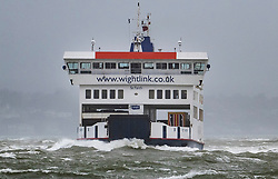© Licensed to London News Pictures. 08/02/2019. Southsea, UK. The Isle of Wight ferry makes it's way to Portsmouth through choppy seas as Storm Erik hits southern parts of the UK. Photo credit: Peter Macdiarmid/LNP