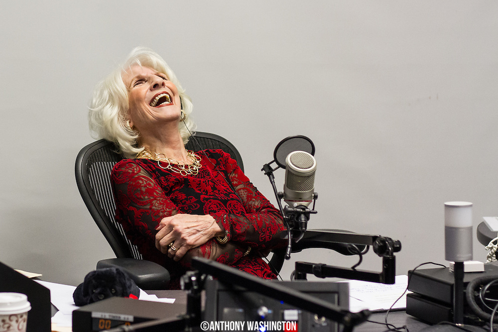 Diane Rehm, host of The Diane Rehm Show, responds with a laughter while listening to comments from a surprise caller during her final show on Friday, December 23, 2017 at WAMU 88.5 in Washington, DC.