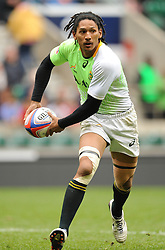 Justin Geduld of South Africa during the Plate final match between South Africa and Kenya at the Marriott London Sevens rugby tournament being held at Twickenham Rugby Stadium in London as part of the HSBC Sevens World Series,  Sunday, 11th May 2014. Picture by Roger Sedres / i-Images