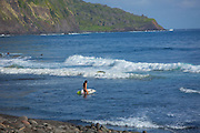 Surfing, Waipio Valley, Hamakua Coast, Island of Hawaii