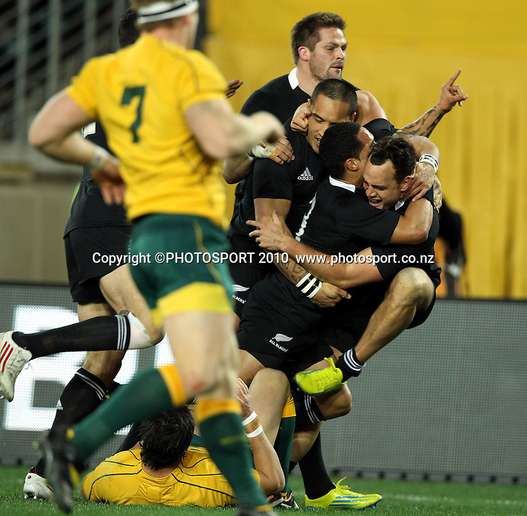 Israel Dagg congratulated by Aaron Smith and Hosea Gear and Richie McCaw<br /> International Test rugby union match, Australia v New Zealand, Sydney, Australia. Saturday 18 August 2012. Photo: Paul Seiser/PHOTOSPORT
