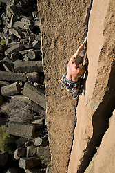 Traditional rock climbing at Trout Creek in central Oregon.