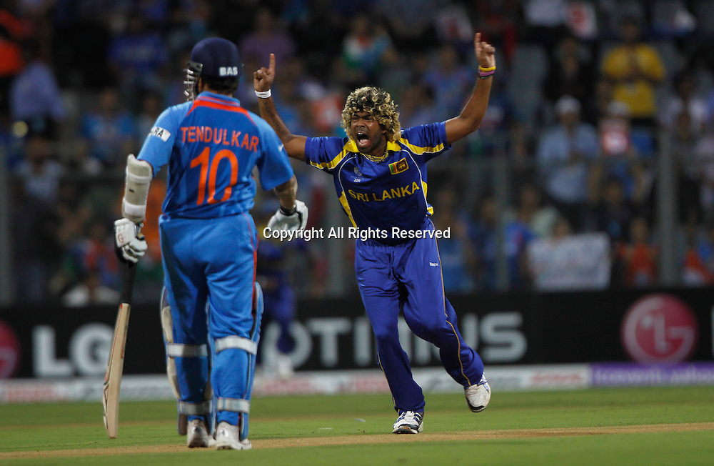 02.04.2011 Cricket World Cup Final from the Wankhede Stadium in Mumbai. Sri Lanka v India. Lasith Malinga of Sri Lanka celebrates the wicket of Virender Sehwag during the final match of the ICC Cricket World Cup between India and Sri Lanka.