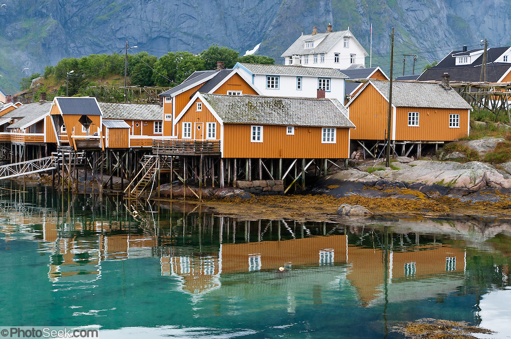 Yellow rorbuer (fishing shanties rented for lodging) rise on stilts over Reinefjord in the Lofoten archipelago, Nordland county, Norway. Sharply glaciated peaks rise on Moskenesøya (the Moskenes Island) above the Norwegian Sea.