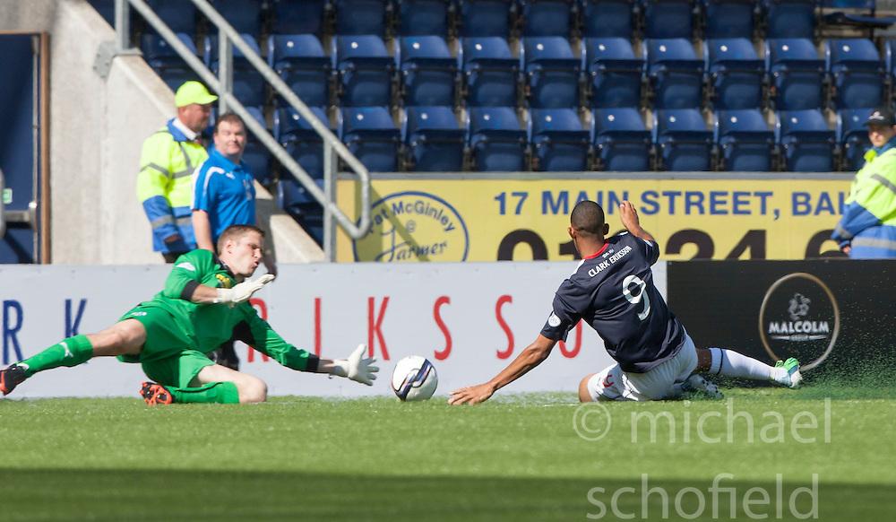 Morton's keeper Derek Gaston saves from Falkirk's Phil Roberts.<br /> half time : Falkirk 2 v 0 Morton, Scottish Championship 17/8/2013.<br /> &copy;Michael Schofield.