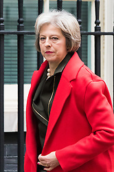 Downing Street, London, December 1st 2015. Home Secretary Theresa May arrives at Downing Street for the weekly cabinet meeting. ///FOR LICENCING CONTACT: paul@pauldaveycreative.co.uk TEL:+44 (0) 7966 016 296 or +44 (0) 20 8969 6875. ©2015 Paul R Davey. All rights reserved.