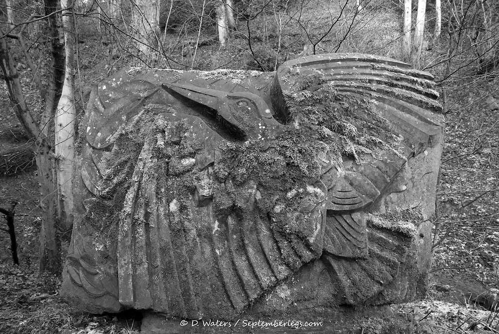 Sheffield, UK - Jan 2015: Vic Brailsford's untitled bird carving the ancient woodland of Glen Howe park on 18 Jan 2015 near Wharncliffe Side