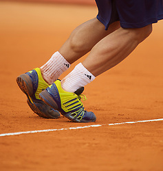MONTE-CARLO, MONACO - Saturday, April 17, 2010: The blue and yellow Adidas tennis shoes of Fernando Verdasco (ESP) during the Men's Singles Semi-Final on day six of the ATP Masters Series Monte-Carlo at the Monte-Carlo Country Club. (Photo by David Rawcliffe/Propaganda)