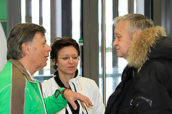 04.02.2013, Medienzentrum, Schladming, AUT, FIS Weltmeisterschaften Ski Alpin, Pressekonferenz FIS und OeSV, im Bild Gian-Franco Kasper, FIS-Praesident, und Peter Schroecksnadel, OeSV-Praesident, und Sarah Lewis, FIS-Generalsekretaerin // Gian-Franco Kasper, President of FIS, and Peter Schroecksnadel, President of OeSV, and Sarah Lewis, secretary general of FIS, at a press conference of the FIS and the OeSV during the FIS Ski World Championships 2013 at the Media Centre, Schladming, Austria on 2013/02/04. EXPA Pictures © 2013, PhotoCredit: EXPA/ Martin Huber