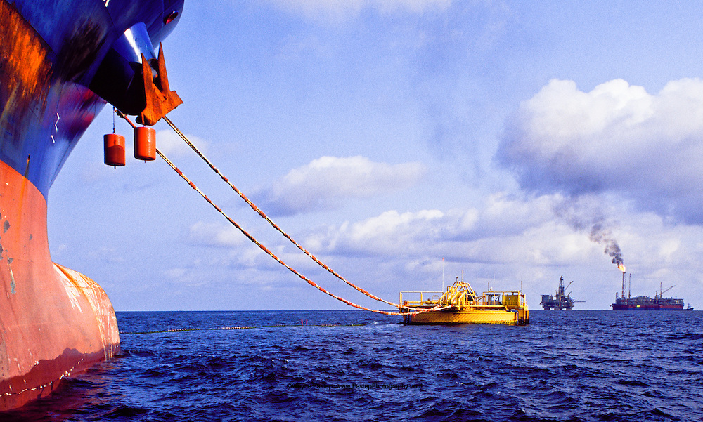 Super tanker loading at SPM bouy off Angola in South Atlantic.