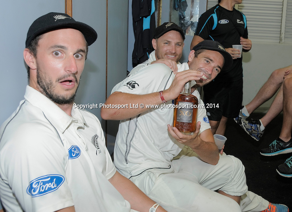 Hamish Rutherford, Tim Southee and Brendon McCullum, New Zealand celebrate after the fifth and final day of the Third and Final Test West Indies v New Zealand at Kensington Oval, Barbados. 30 June 2014.<br /> Photo: Randy Brooks