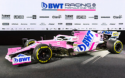 17.02.2020, BWT Headquarter, Mondsee, AUT, FIA, Formel 1, Racing Point Auto Präsentation, im Bild Racing Point Formel-1-Auto RP20 // Racing Point Formula one car RP20 during the FIA formula 1 car presentation of Racing Point at the BWT Headquarter in Mondsee, Austria on 2020/02/17. EXPA Pictures © 2020, PhotoCredit: EXPA/ Johann Groder