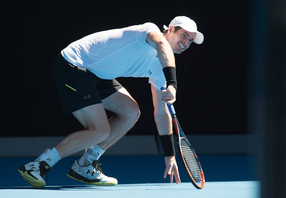 Andy Murray of Great Britain takes on Illya Marchenko of the Ukraine during their first round match on day one of the 2017 Australian Open in Melbourne, Australia on January 16, 2017.<br /> (Ben Solomon/Tennis Australia)