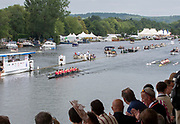 Henley on Thames, England, United Kingdom, Sunday, 07.07.19, Waiariki Rowing Club, New Zealand<br /> leading<br /> Leander Club and Imperial College London, as they approach the Progress Board, in the Final of the Remenham Challenge Cup, Henley Royal Regatta,  Henley Reach, [©Karon PHILLIPS/Intersport Images]<br /> <br /> 12:06:40 1919 - 2019, Royal Henley Peace Regatta Centenary,