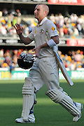 "Brad Haddin walks off the GABBA on 78 not out after stumps on Day 1 of the 1st Test in the 2013-14 Ashes Cricket Series between Australia and England at the GABBA (Brisbane, Australia) from Thursday 21st November 2013<br /> <br /> Conditions of Use : NO AGENTS ~ This image is subject to copyright and use conditions stipulated by Cricket Australia.  This image is intended for Editorial use only (news or commentary, print or electronic) - Required Image Credit : ""Steven Hight - AURA Images"""