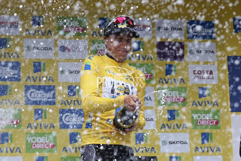 Edvald Boasson Hagen celebrates with champagne after winning the Aviva Tour of Britain, Regent Street, London, United Kingdom on 13 September 2015. Photo by Ellie Hoad.