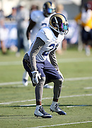 Los Angeles Rams defensive back Coty Sensabaugh (21) chases the action during the Los Angeles Rams 2016 NFL training camp football practice held on Tuesday, Aug. 2, 2016 in Irvine, Calif. (©Paul Anthony Spinelli)