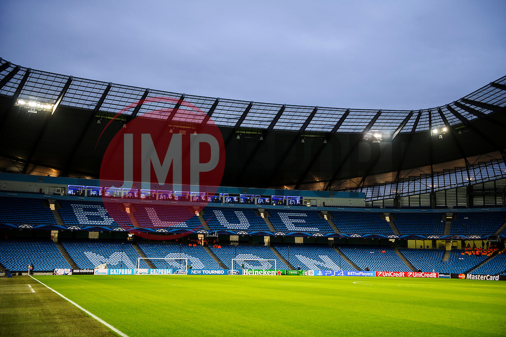 "A General View inside the stadium with ""Blue Moon"" spelt out on the seats - Photo mandatory by-line: Rogan Thomson/JMP - Tel: 07966 386802 - 18/02/2014 - SPORT - FOOTBALL - Etihad Stadium, Manchester - Manchester City v Barcelona - UEFA Champions League, Round of 16, First leg."