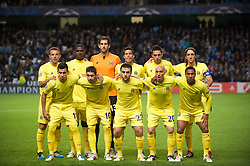 MANCHESTER, ENGLAND - Tuesday, Octover 18, 2011: Villarreal CF players line up for a team group photograph before the UEFA Champions League Group A match against Manchester City at the City of Manchester Stadium. Back row L-R: Carlos Marchena, Cristian Zapata, goalkeeper Diego Lopez, Jose Catala, Bruno Soriano, Gonzalo Rodriguez. Front row L-R: Hernan Perez, Cani, Giuseppe Rossi, Borja Valero, Jonathan De Guzman. (Pic by David Rawcliffe/Propaganda)