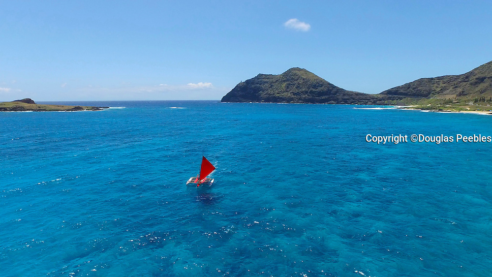 Outrigger Sailing Canoe, Makapuu, Beach, Oahu, Hawaii
