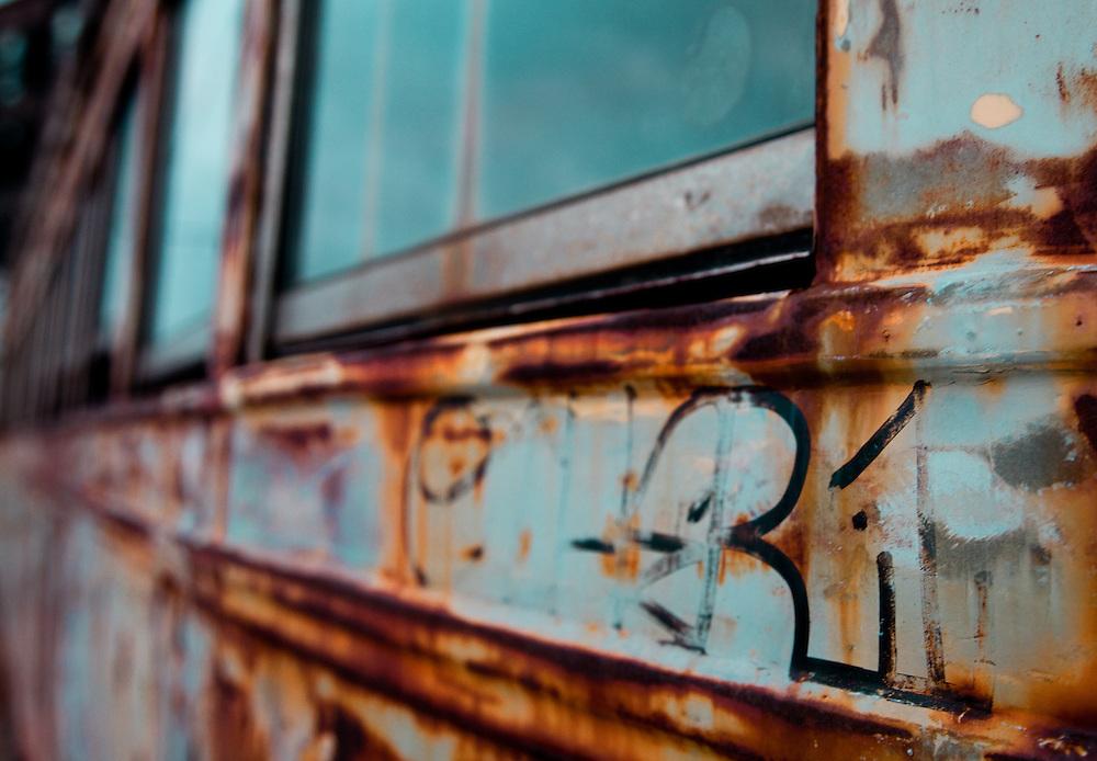 Tag on a rusty trolley
