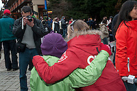 Fans pose with Olympic gold medalist Ashley McIvor days after her win during the 2010 Olympic Winter Games in Whistler, BC Canada.