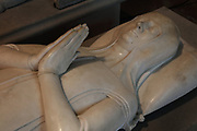 Effigy of Marguerite de Flandre, 1310-82, daughter of Philippe V and Jeanne de Bourgogne, wife of Louis II bout of Flandres, made late 14th century in marble, in the Basilique Saint-Denis, Paris, France. The basilica is a large medieval 12th century Gothic abbey church and burial site of French kings from 10th - 18th centuries. Picture by Manuel Cohen