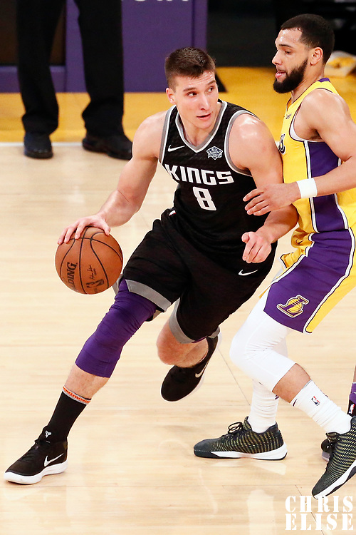 09 January 2018: Sacramento Kings guard Bogdan Bogdanovic (8) drives past Los Angeles Lakers guard Tyler Ennis (10) during the LA Lakers 99-86 victory over the Sacramento Kings, at the Staples Center, Los Angeles, California, USA.