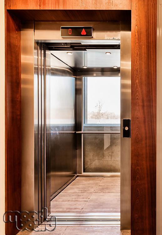Full length view of elevator in condominium