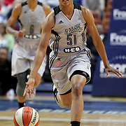 UNCASVILLE, CONNECTICUT- MAY 05:  Sydney Colson #51 of the San Antonio Stars in action during the San Antonio Stars Vs Connecticut Sun preseason WNBA game at Mohegan Sun Arena on May 05, 2016 in Uncasville, Connecticut. (Photo by Tim Clayton/Corbis via Getty Images)
